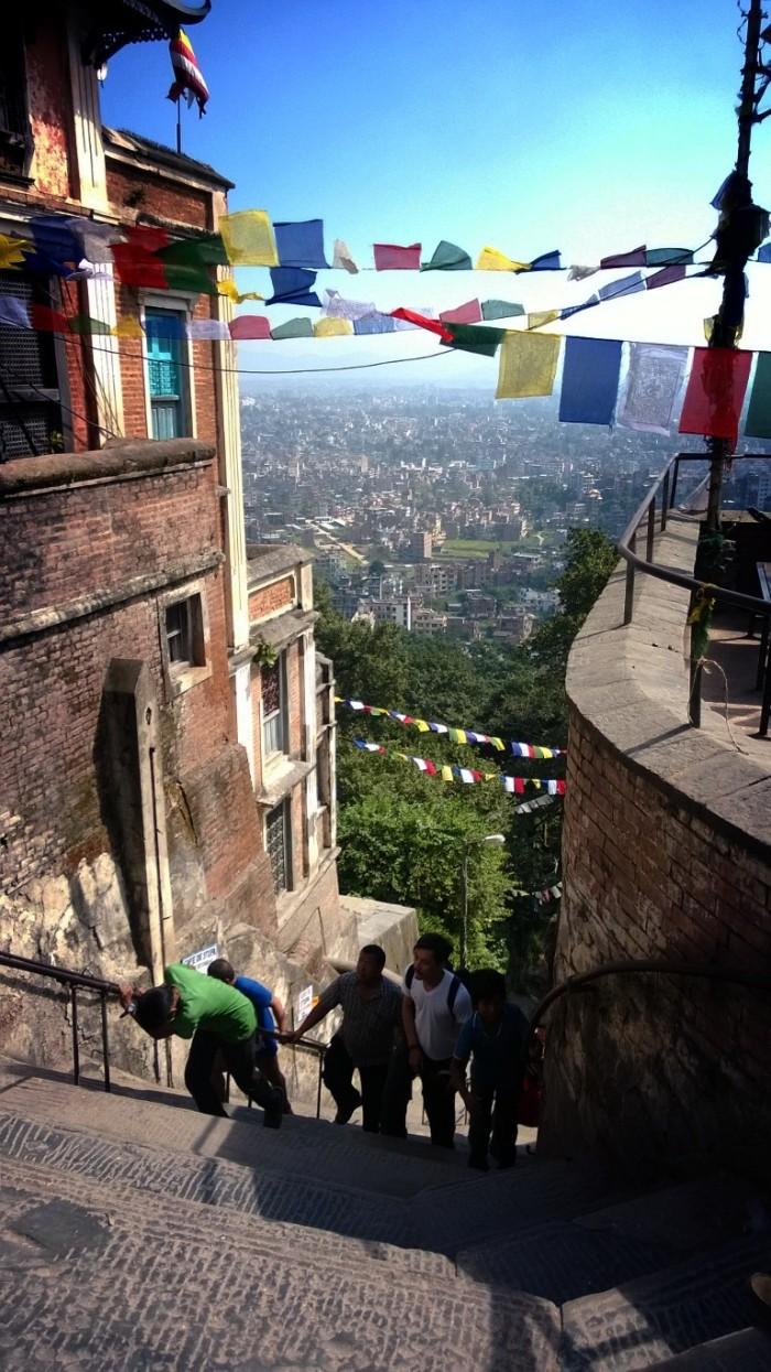 Swayambhunath - på toppen av trappene til toppen