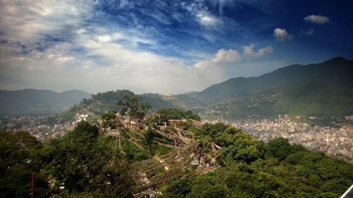 Utsikt over Kathmandu og Swayambunath