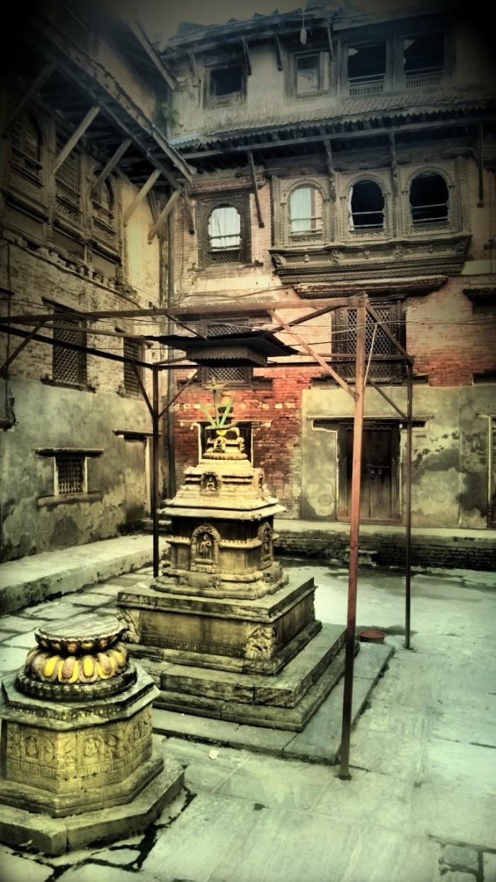 Typisk bakgård i Kathmandu's forstad