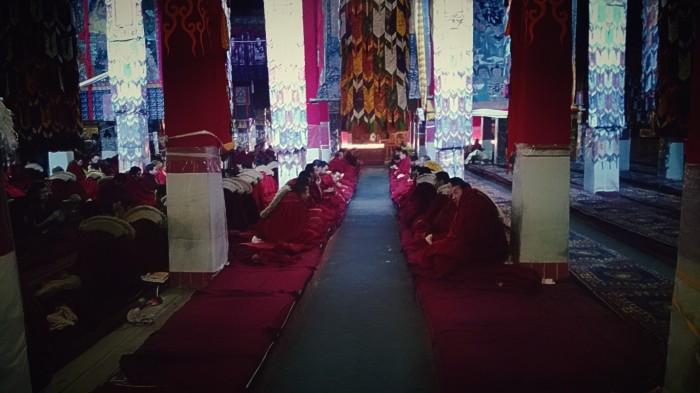 Gathering av munker i Drepung tempel