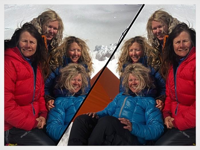Fire fine frøkner med fettet hår